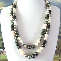 White, Cream, Grey and Black 10mm FAUX PEARL Long Necklace.