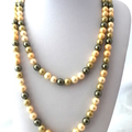 Cream, Yellow, Gold and Green 10mm FAUX PEARL Long Necklace.