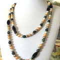 Yellow, Gold, Gray and Black 9mm FAUX PEARL Long Necklace.