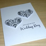 Wedding day card - black and white hearts