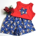 "Size 1, 2 and 3 - ""Cheery Santa""Christmas Shorts and Appliqued Singlet"