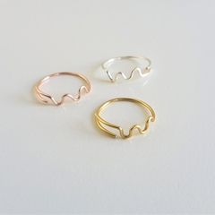 Unique wave wire ring / Gold , Silver , Rose gold / Size adjustable