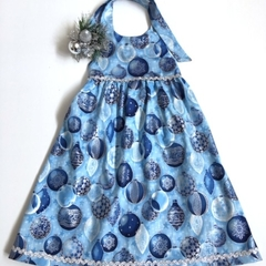 "Size 7 - ""Blue Baubles""Christmas Dress"