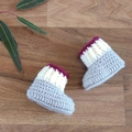Grey, Burgundy & Cream Fair isle Baby Cardigan, Beanie & Booties
