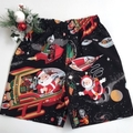 "Sizes 3 and 4 - ""Santa in Space"" (Black)Christmas Shorts"