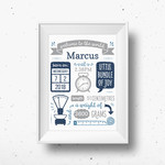 Personalised Baby Birth Detail *Digital* Print A4 A3 A2 A1 Modern Nursery Decor