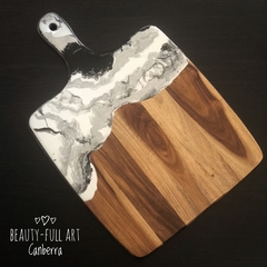 White, Black and Silver Resin Art  Serving Board, Cheese Board.