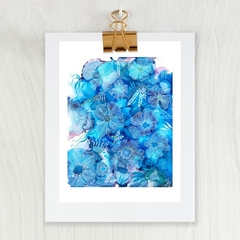 'Floating in Azure'. A4 or A3 Reproduction Art PRINT of my mixed media painting