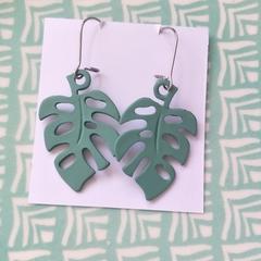 Green  Monsteria Earrings