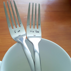 I do, Me Too, Wedding Cutlery,Vows,Wedding cake Fork,Anniversary,Engagement,Gift