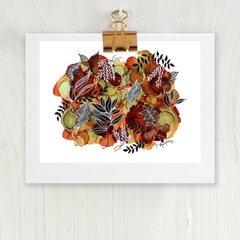 'Earth and Botanica', A4 Reproduction Art Print of original mixed media painting