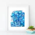 'Floating in Azure'. Large A3 Reproduction Art PRINT of my mixed media painting