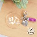 #1 Teacher Keyring * thank you gift Bag Tag Key Chain Ring *