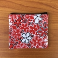 Red and White Floral Purse