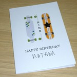 Personalised skateboard Birthday card