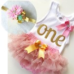 Baby Girls 1st Birthday  Singlet, headband and ruffle bloomers. Gold glitter One