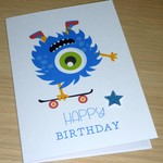 Kids Birthday card - skateboard monster