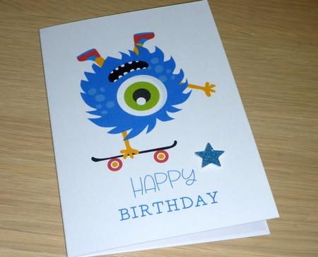 Kids Birthday card - skateboard monster