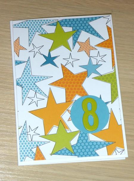 8th Birthday card - boy or girl - stars - 1 only!