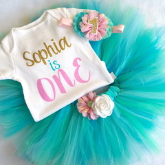 1st Birthday Cake Smash Party Outfit Tutu Onesie & Headband & legwarmers