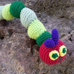 Little Hungry Caterpillar, hand made crochet, perfect for story time!