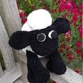 "Black and white ""Shaun sheep"" soft toy. Hand made cuddly softie. Farm animal."