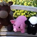 Pink piglet soft toy -  Cuddly crochet  farm animal softie.