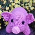 Pink piglet soft toy -  Cuddly crochet  farm animal softie.