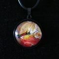 Pendant, necklace,hand painted, round