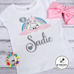 Birthday Celebration Unicorn t shirt Personalised Custom Kids 4 years old top