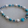 Turquoise Blue and White Gemstone Choker Necklace