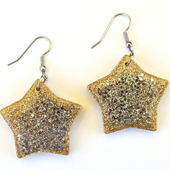 Christmas star earrings - Gold and silver glitter