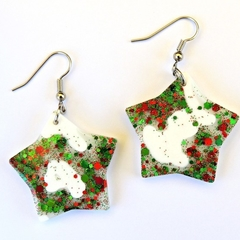 Christmas star earrings - White with red and green glitter