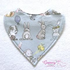 Bunnies On Blue Bandana Baby Bib