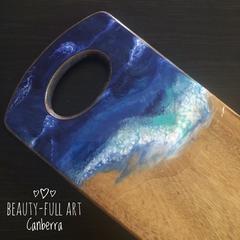 Ocean Resin Cheeseboard, Resin Art Serving Board.