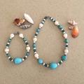Turquoise Blue and White Gemstone Choker Necklace