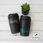 Reuseable Insulated Coffee cup with Personalised Name Sticker * Custom Made *