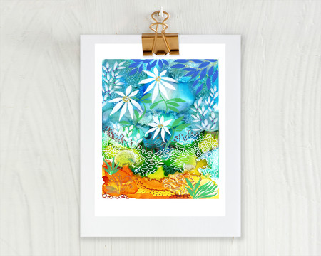 'Summer Daisies'. Large A3 Reproduction Art PRINT of my mixed media painting