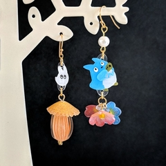 Acorn x Flowers Drop Earrings (Anime Theme) - Handmade Kawaii Flowers
