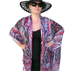 Red Black Silk Kimono Jacket, Plus Size Beachwear Bikini Cover Up