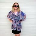 Royal Blue Silk Kimono Jacket, Plus Size Beachwear Bikini Cover Up