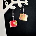 Cube Cake Drop Earrings - Handmade Kawaii Sweets