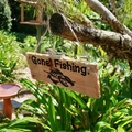Hand Engraved Gone Fishing Reclaimed Timber Sign