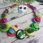 Colourful Caterpillar Necklace - Strawberry Lollipop Button Jewellery - Earrings