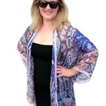 Royal Blue Silk Kimono Jacket, Plus Size Beachwear Bikini Cover Up