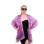 Pink Silk Kimono Jacket, Plus Size Beachwear Bikini Cover Up