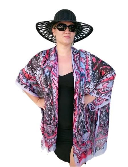 Red Black Silk Kimono Jacket, Plus Size Beachwear Bikini Cover Up