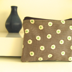Coin purse Brown cream spot with green flowers and green wool back, lined