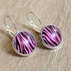 Earrings - Pink Zebra