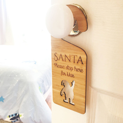 Personalised Bamboo Christmas Door Hanger - Santa Please Stop Here sign
